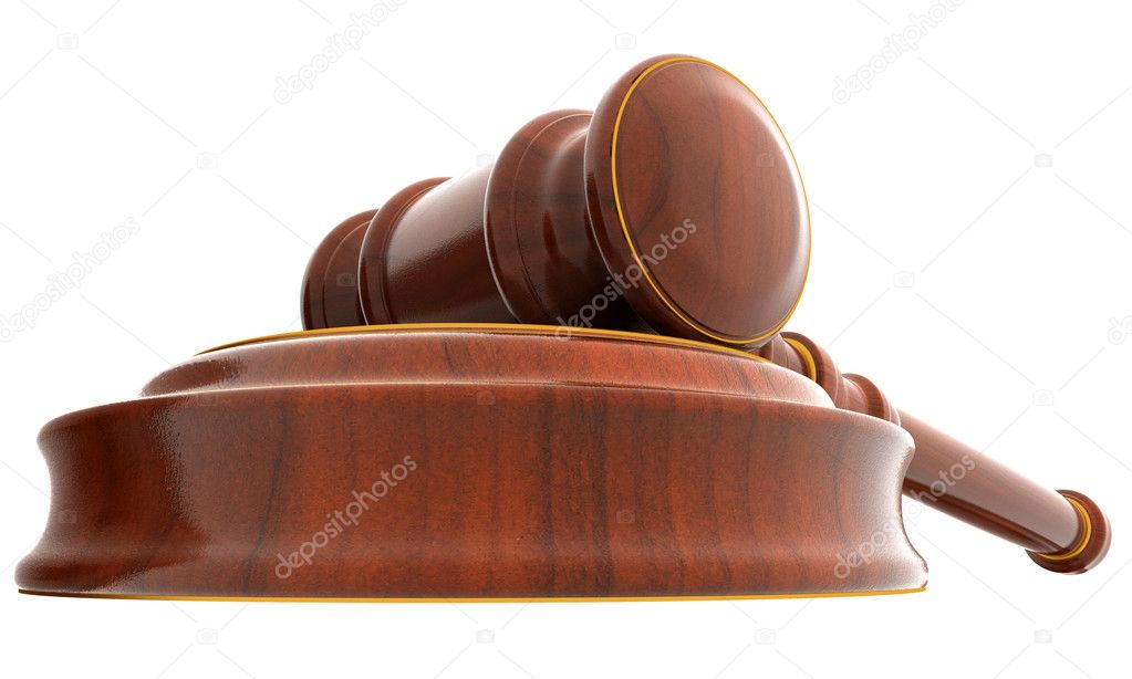 3d wooden mallet of judge. White background. — Stock Photo #1750637