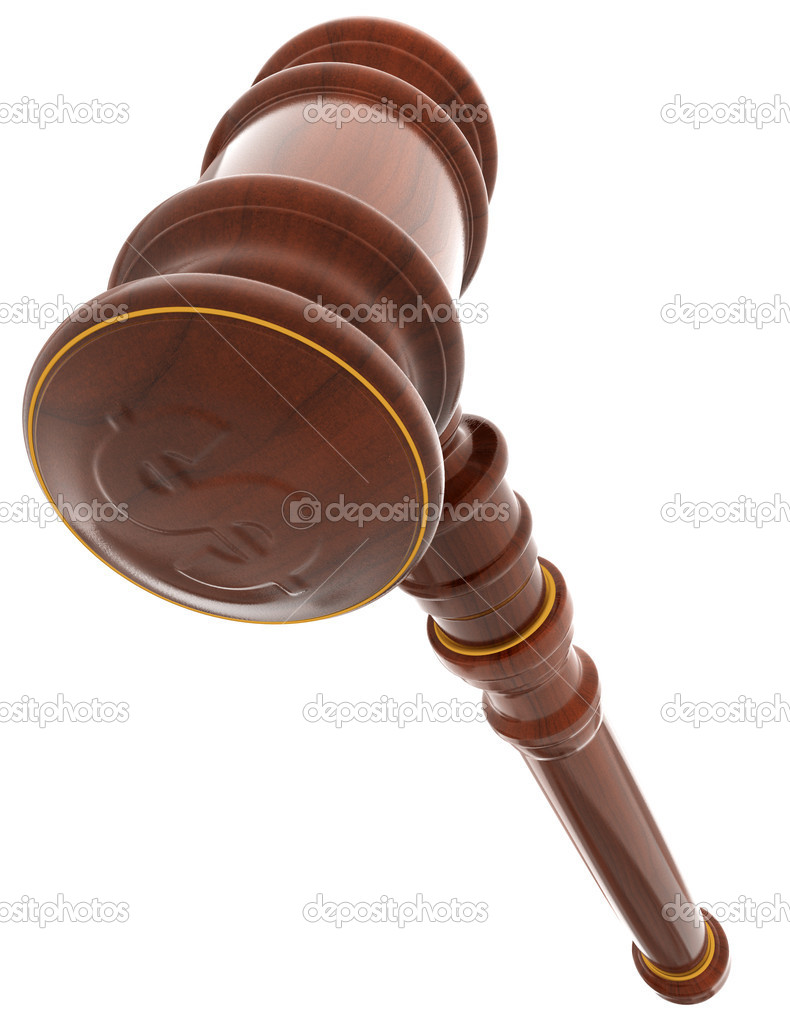 3d wooden mallet of judge. White background. — Stock Photo #1769824