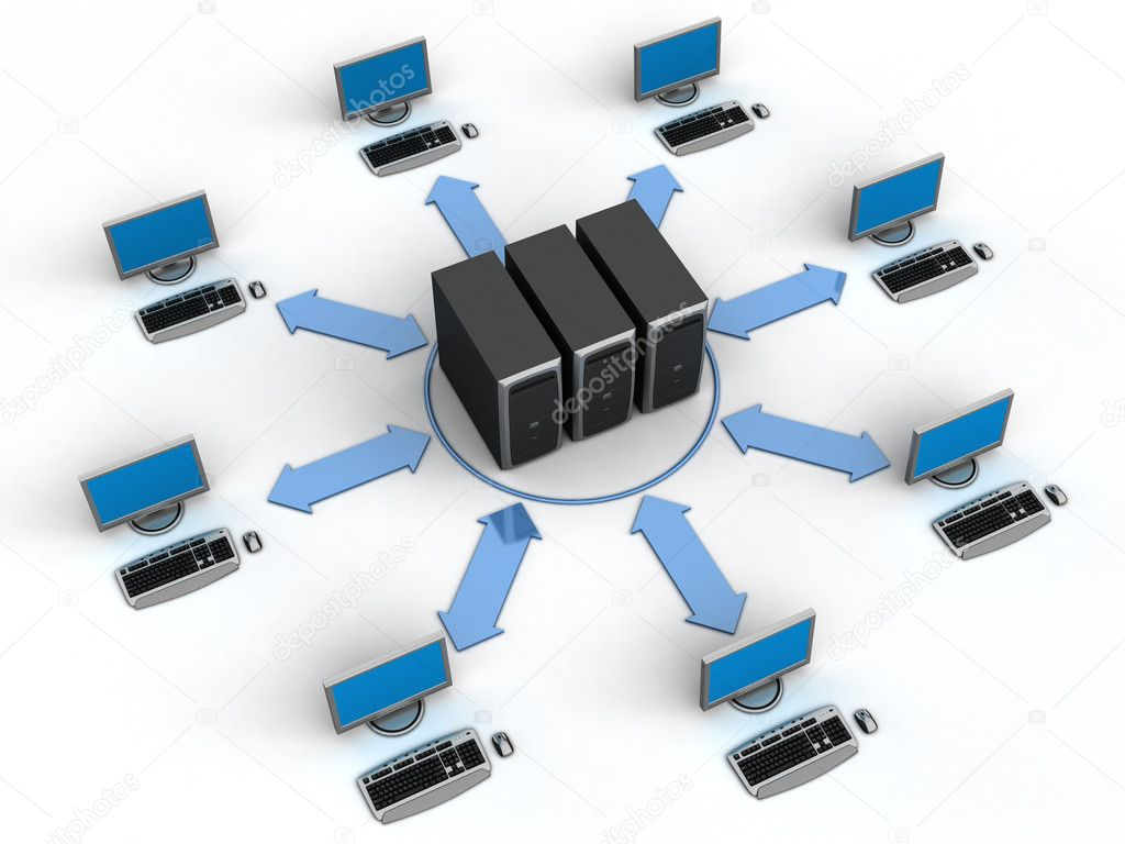 Image of computer network. White background. — Stok fotoğraf #1770156
