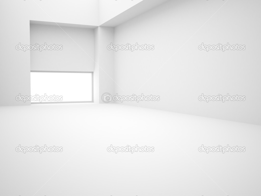 Modern white empty 3d interior with window  Stock Photo #2251602