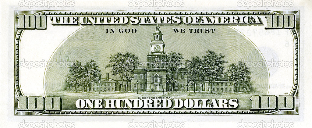 One hundred dollar bill back side — Stock Photo #1808435