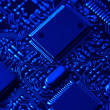 Blue high tech mother board — Stock Photo