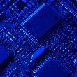Stock Photo: Blue high tech mother board