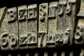 Old typewriter machine close-up — Stock Photo