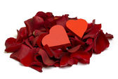 Hearts and Rose Petals — Stock Photo
