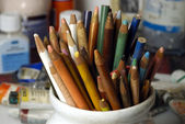 Old Colored pencils — 图库照片