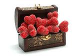Hearts in the box — Stock Photo