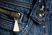 Blue Denim Jeans with zipper — Stock Photo