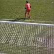 Goalkeeper in the red form — Stock Photo
