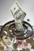 One hundred dollar and currencies — Stock Photo