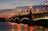 Троицкий мост белой ночью — Stock Photo