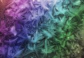 Иней на стекле, разноцветный — Stock Photo