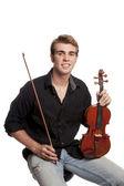 Młody mężczyzna z skrzypce — Zdjęcie stockowe