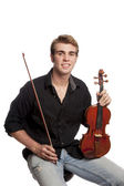Jonge man met viool — Stockfoto