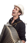 Male with accordion and hat — Stock Photo