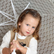 Beatifull girl with white umbrella — Stock Photo
