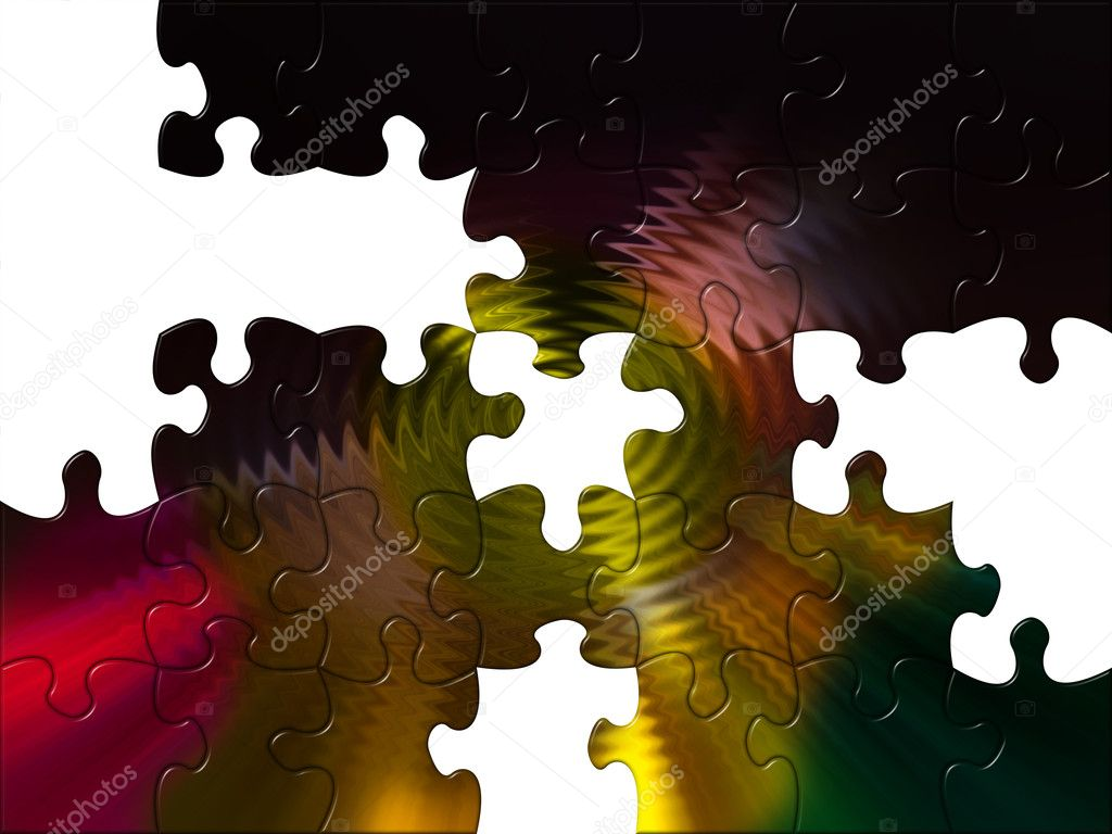 Illustration of multicolor puzzles  Stock Photo #1974897