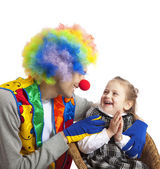 Clown and little girl — Stock Photo