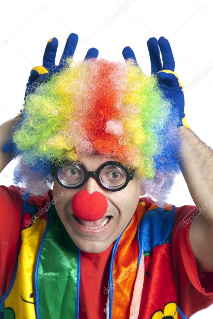 Clown male with funny glasses on white isolated — Stock Photo #2630895