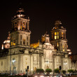 Mexico city cathedral by night - 图库照片