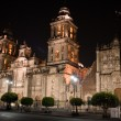 Foto Stock: Mexico city cathedral by night