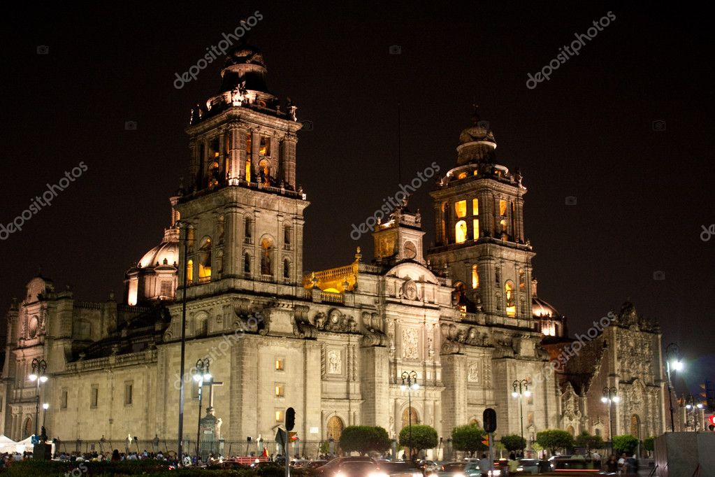 Mexico city cathedral by night — Foto Stock #1774163