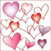 Conjunto de corazones — Vector de stock