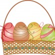 Easter basket with eggs — Stock Vector