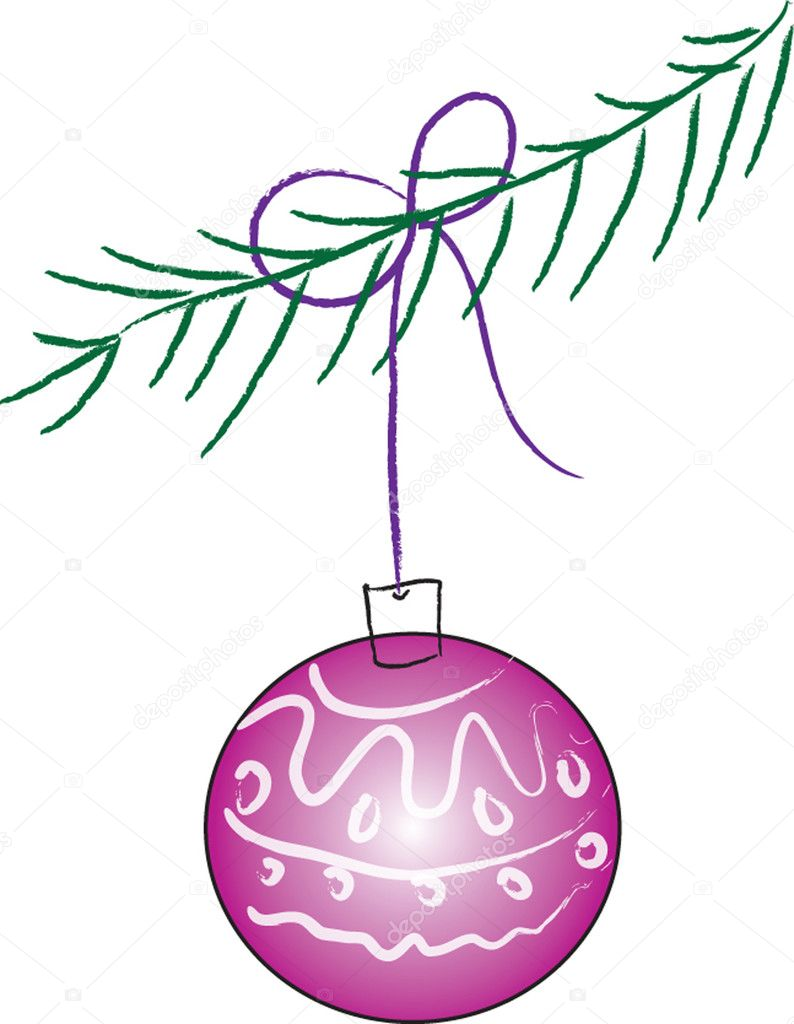 Lilac Christmas ball hanging on a spruce branch — Stock Vector #2285410
