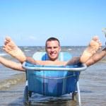 en mar azul — Foto de Stock