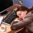 Businesswoman asleep — Stockfoto