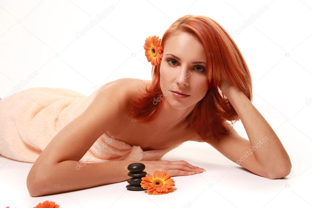 Beautiful redhead woman relaxing in spa — Stock Photo #1774132