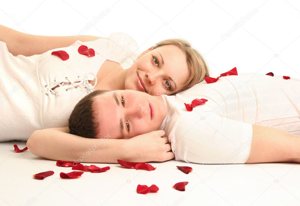 Beautiful young couple with rose — Stock Photo #2263260