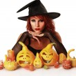 Witch on white — Stock Photo