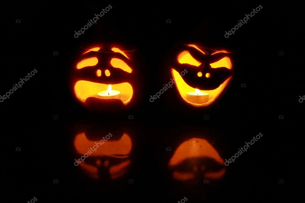 Halloween pumpkins with funny faces — Stock Photo #2302950
