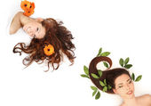 Belles jeunes femmes aux cheveux longs sur blanc — Photo