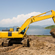 Stock Photo: Excavator on a working platform