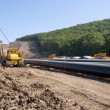 Construction of a new oil pipeline - Stockfoto