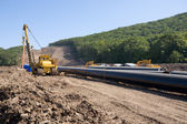 Construction of a new oil pipeline — Stock Photo