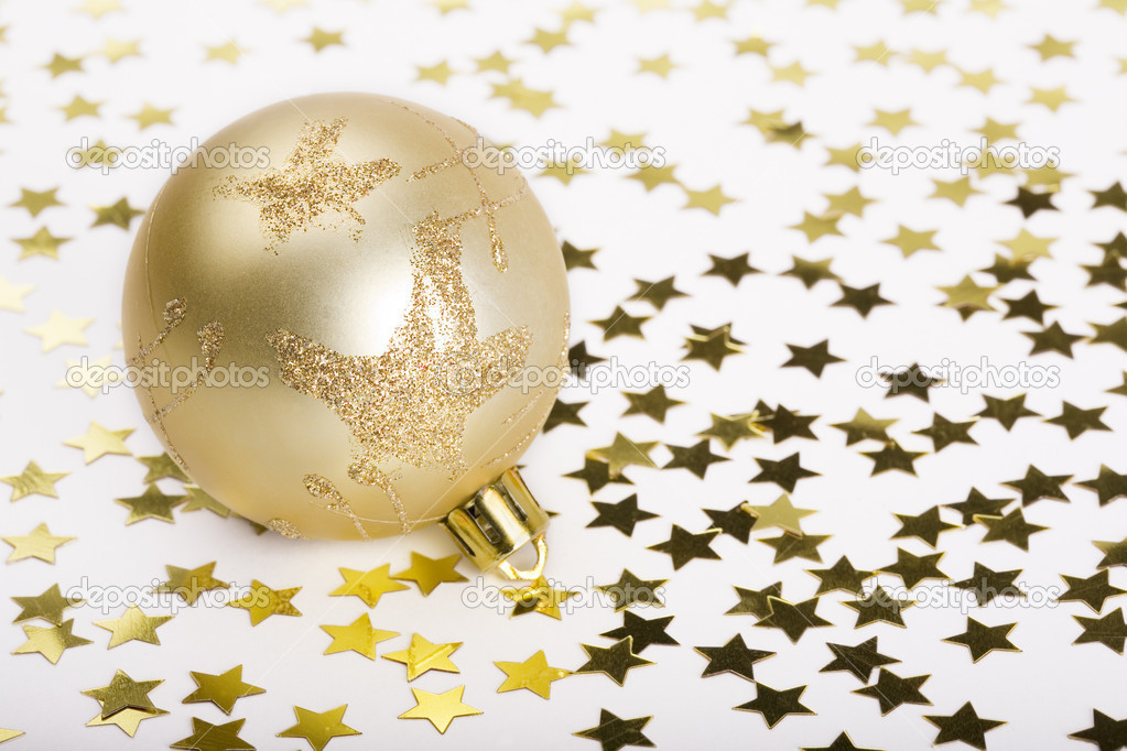 Christmas Ball and gold decoration stars — Stock Photo #1848746