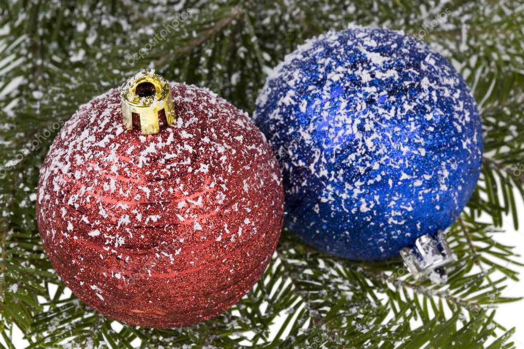 Branch spruce(natural) and Christmas Balls covered with a snow. — Stock Photo #1849219