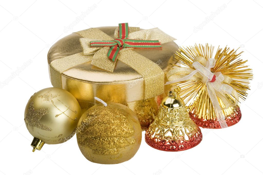 Christmas baubles: gift, bells, ball, candle. Isolated on white. — Stock Photo #1849487
