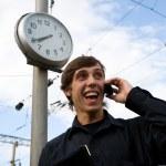Clock.man.mobile — Stock Photo