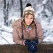 Teenage girl in the snow — Stock Photo