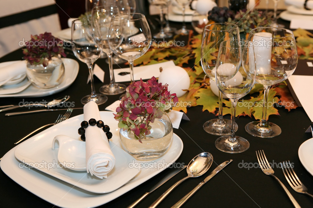 Table setting for thanksgiving dinner — Stock Photo #1784226