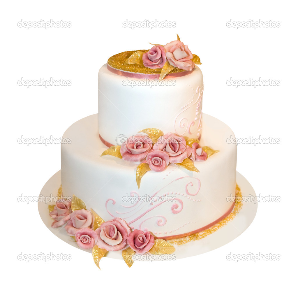 Wedding cake decorated with marzipan roses (isolated on white) — Photo #1804670