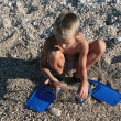 Boy found starfish — Stock Photo