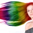 Woman with long color hair — Stock Photo