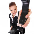 Businesswoman with telephone — Stock Photo