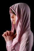 Woman in pink hood — Stock Photo
